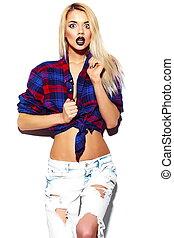 pano, modelo, hipster, jovem, luminoso, verão, alto, loura, look.glamor, elegante, mulher, engraçado, bonito, moda, excitado