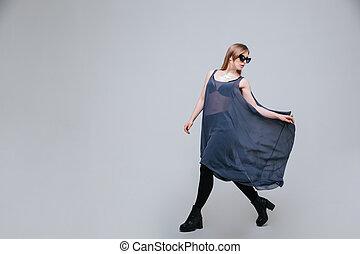 pano, modelo, moda, femininas