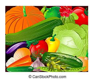 pano, vegetales
