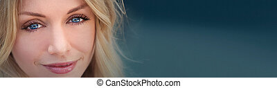 Panoamic Beautiful Blond Woman With Blue Eyes