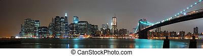panoráma, éjszaka, város, york, új