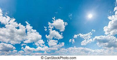 panoráma, ész, ég, csillogó, nap