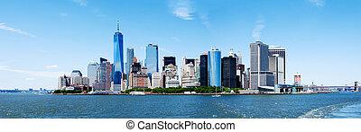 panoráma, új york város, manhattan égvonal, és, szabadság, bástya