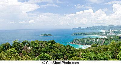 panoráma, antenna, közül, tropical tengerpart, phuket,...