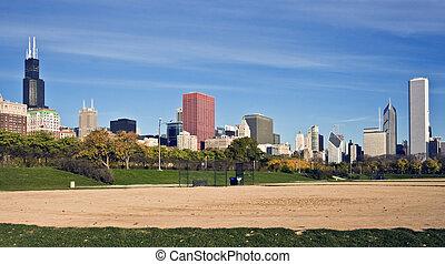 panoráma, baseball terep, háttér, chicago