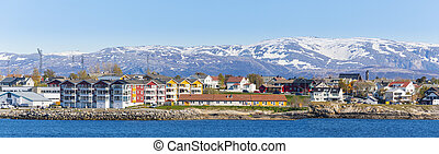panoráma, hó, város, bodo, norvégia, norvég, háttér, hegyek
