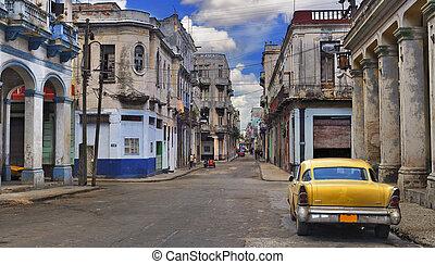 panoráma, havanna, öreg, utca autó