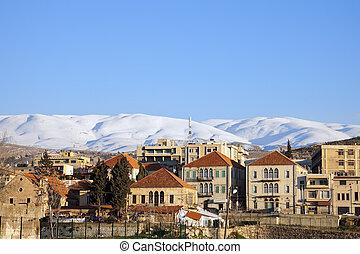 panoráma, havas, baalbek, hegyek