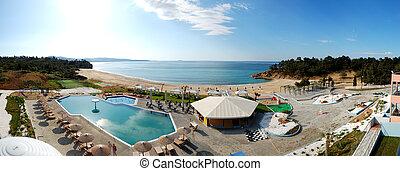 panoráma, közül, úszik tavacska, és, bár, által, egy, tengerpart, -ban, a, fényűzés, hotel, thassos, sziget, görögország