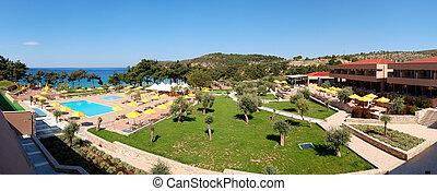 panoráma, közül, úszik tavacska, és, tengerpart, -ban, a, fényűzés, hotel, thassos, sziget, görögország
