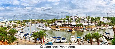 panoráma, közül, a, cala, d'or, jacht, marina, kikötő, noha,...