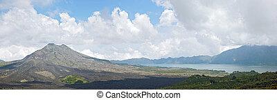 panoráma, közül, batur, vulkán, táj