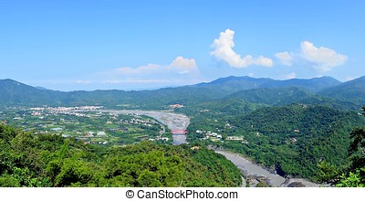 panoráma, közül, déli, taiwan