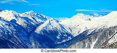 panoráma, közül, hó, hegy parkosít