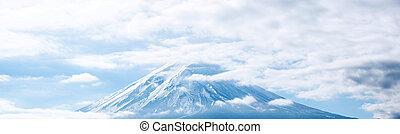 panoráma, közül, hegy, fuji