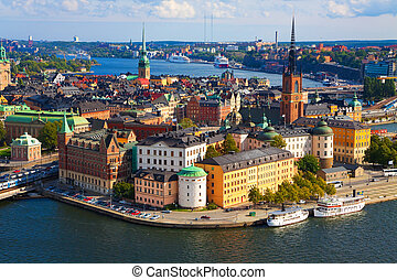 panoráma, közül, stockholm, svédország