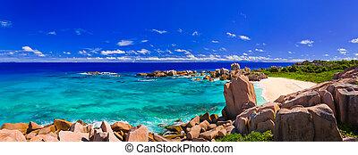 panoráma, közül, tropical tengerpart, -ban, seychelles