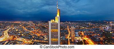 panoráma, legfontosabb, frankfurt, szürkület