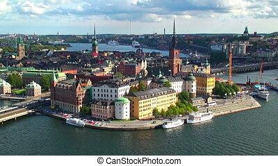 panoráma, mozdulatlan, stockholm