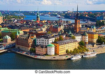panoráma, o, stockholm, švédsko