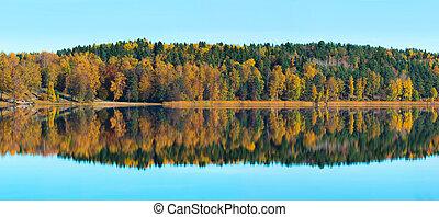 panoráma, -, tó, ősz, befest, gondolkodások