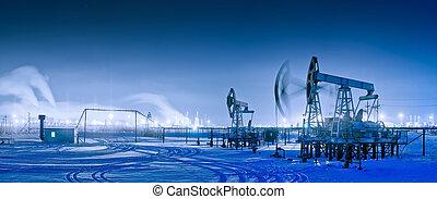 panorámico, aceite, invierno, pumpjack., noche