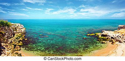 panorámico, azul, laguna
