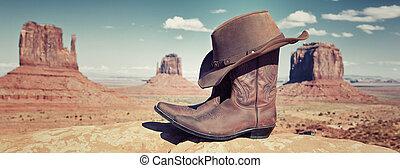 panorámico, botas, y, sombrero