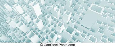 panorámico, concepto, arquitectura