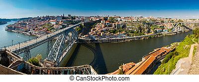 panorámico, dom, vista puente, arco, río, douro, porto, ...