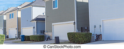 panorámico, espalda, dallas, vecindad, two-car, línea, casas...
