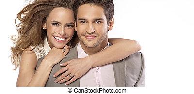 panorámico, estilo, foto, de, pareja joven