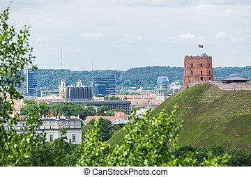panorámico, gediminas, vista, castillo, vilnius