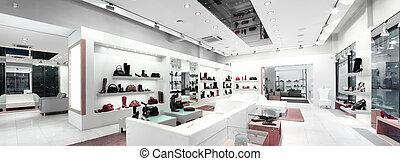 panorámico, interior, de, un, tienda