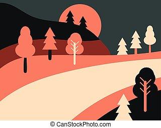 panorámico, paisaje, con, highway., camino de país, paisaje, retro., plano, style., vector, ilustración