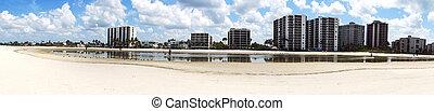 panorámico, playa, condominios