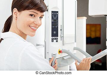 panorámico, radiografía dental, máquina