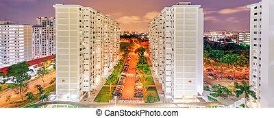 panorámico, singapur, vecindad, hdb, cima, eunos, complejo, vista, tarde