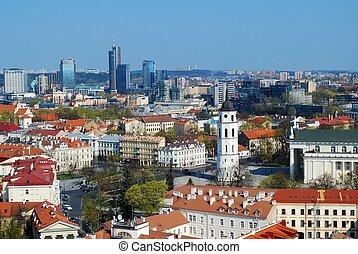 panorámico, viejo, moderno, vista, ciudad de edificios, ...
