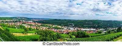 panorámico, wurzburg, baviera, paisaje, vista
