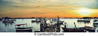 panorâmico, barcos pesca, vista