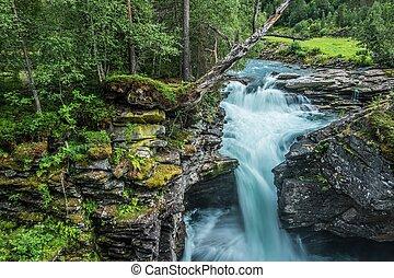 panorâmico, cachoeira, lugar