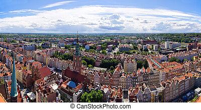 panorâmico, cityscape, de, gdansk, polônia