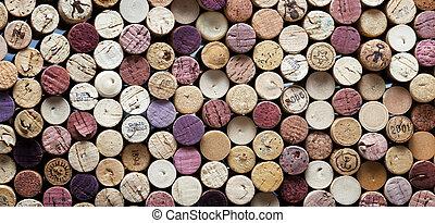 panorâmico, close-up, de, vinho, cortiças