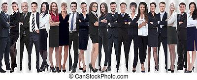 panorâmico, colagem, de, um, grande, e, sucedido, equipe negócio