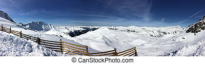 panorâmico, declives, esqui, vista