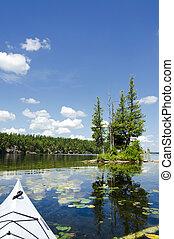 panorâmico, ensolarado, lago, norte