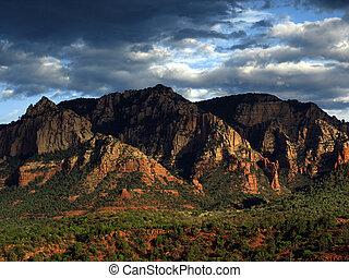 panorâmico, eua, paisagem, arenito, vermelho, natureza