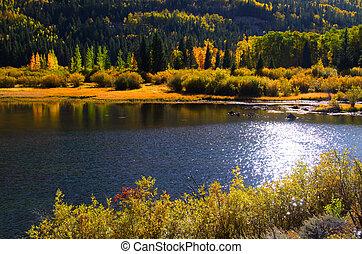 panorâmico, lago, em, montanhas san juan