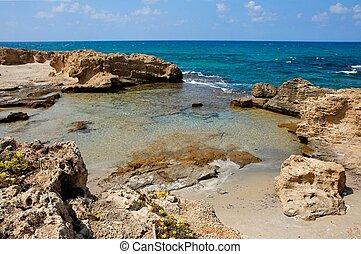 panorâmico, mar, lagoa, paisagem, costa
